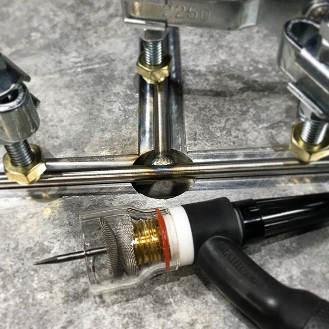 "Welding up some 1/4"" Stainless ""T"" assemblies. 1 down; 599 more to go 🤙. #stainless #tigonlyshop #millerwelders"