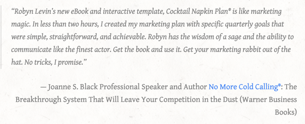 Read how the Cocktail Napkin Plan® template helped other business owners.