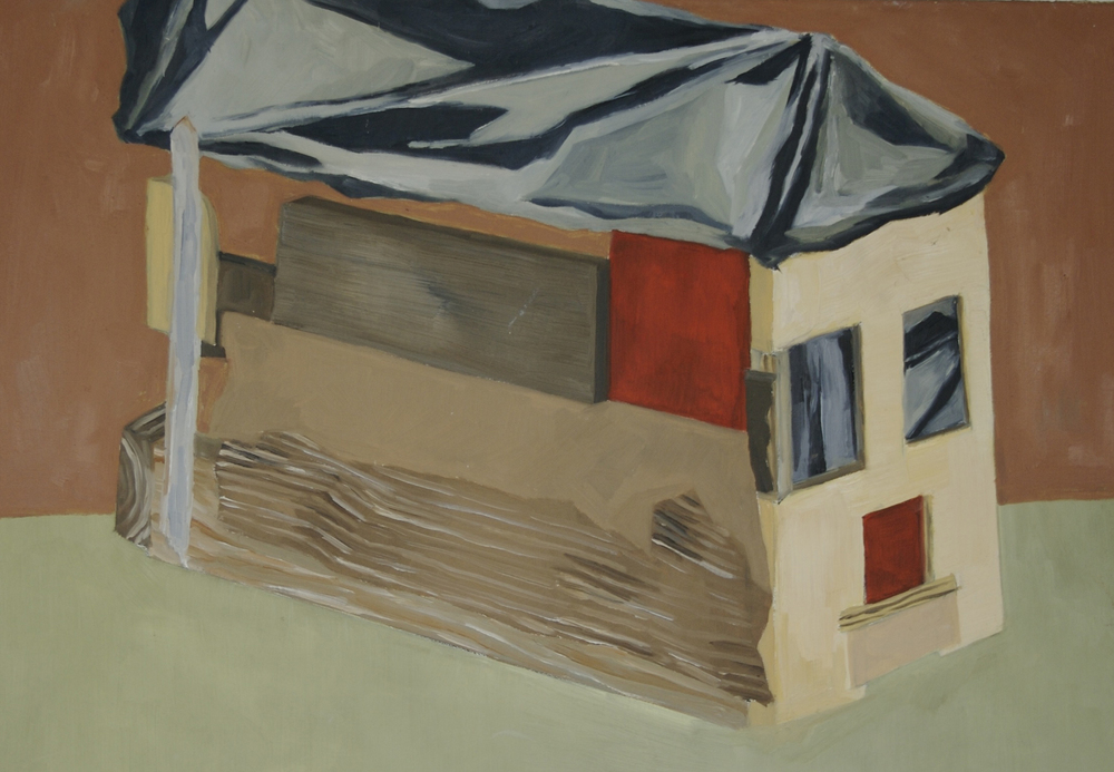 "Abandonment Constructed, 2009, oil on canvas, 24"" x 12"""