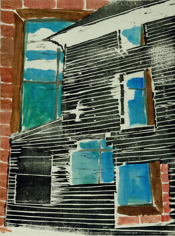 "Untitled, 2010, woodblock and monoprint, 14"" x17"""