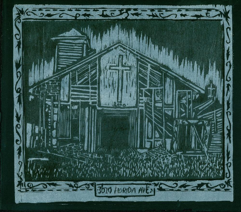 "3020 Florida Ave, 2008, woodblock print, 10"" x 8"""
