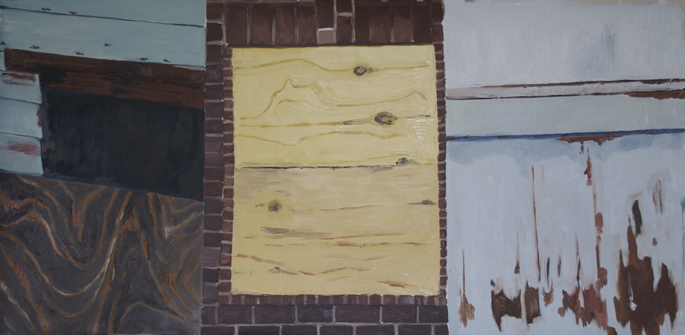 "Triptych, 2009, oil on canvas, 28"" x 14"""