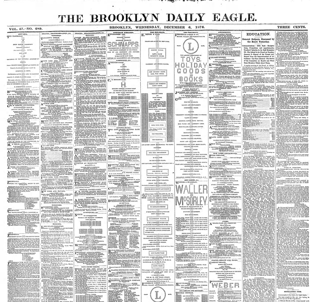Front page from Brooklyn Daily Eagle from the day after the theater fire