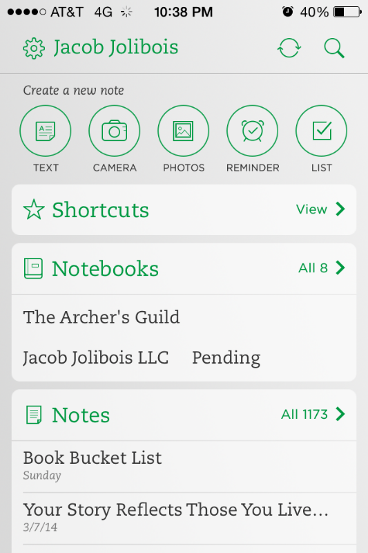 My Evernote Homescreen