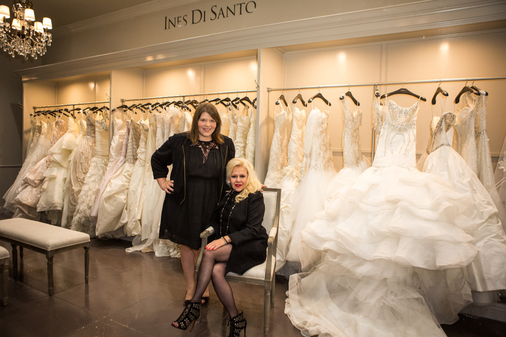 Ines and I during our interview in her showroom at Lovella Bridal, which takes up half the first floor of the salon.