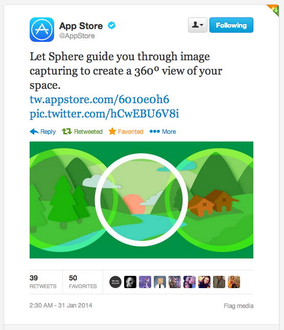 @AppStore tweet sent today about the Sphere 360º photography app to its 2.4 million followers.