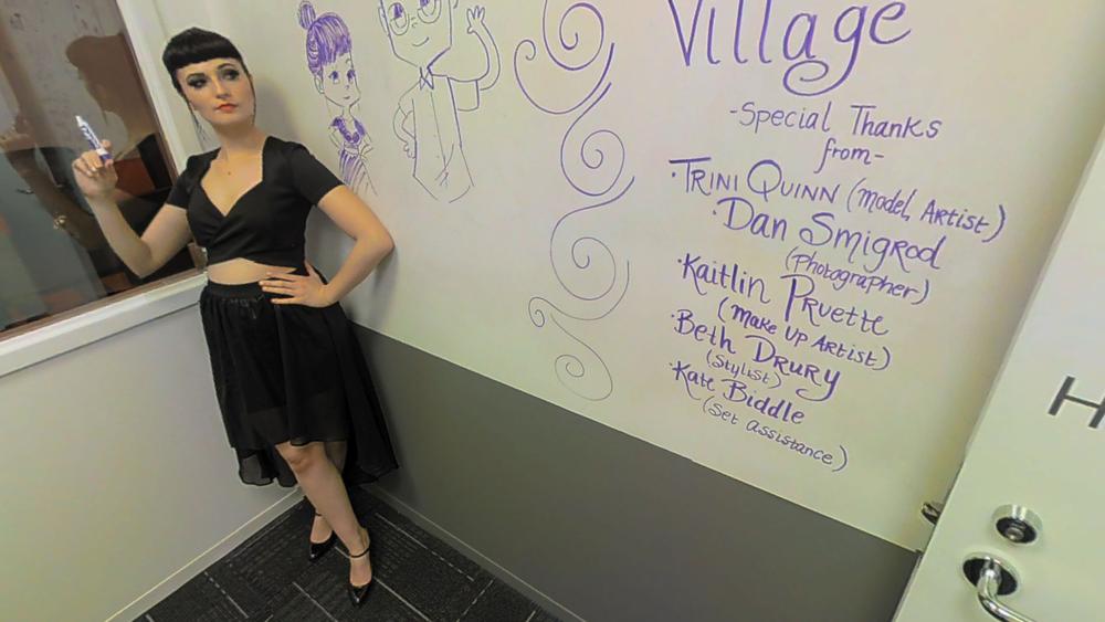 Model-Artist Trini Quinn gives thanks to the creative team..