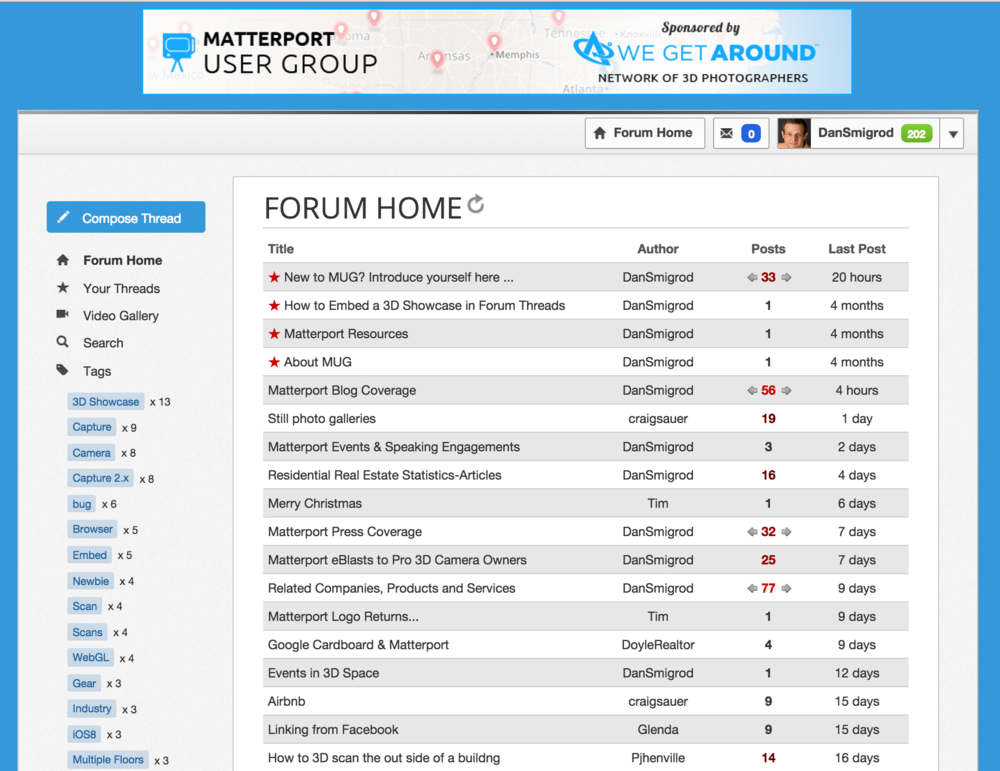 Matterport User Group (MUG) Forum launched 11 am today, Tuesday, 26 August 2014.