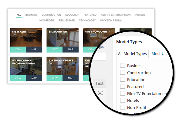 WP3D Models enables filtering Matterport 3D Showcase tours by type.
