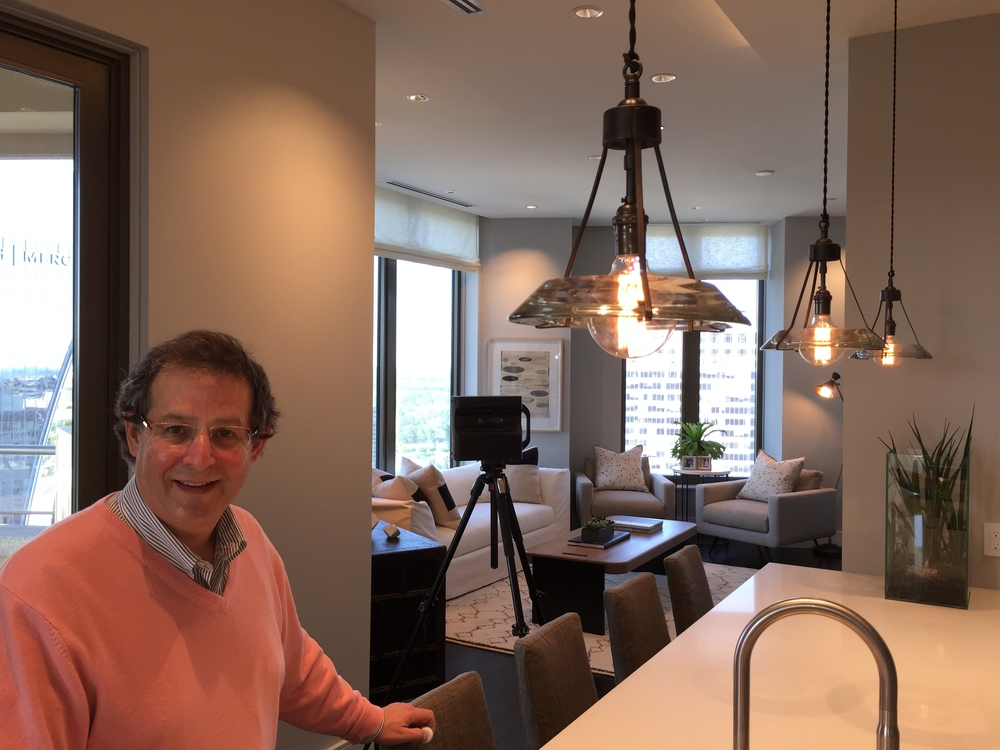 We Get Around Chief Photographer Dan Smigrod at The Residences at Mandarin Oriental, Atlanta (38A). The Matterport Pro 3D Camera is in background.