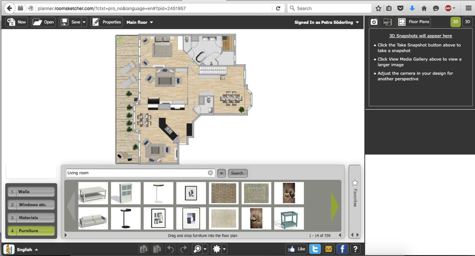 Image 1 – RoomSketcher Home Designer software enables you to draw walls, add windows and doors, and decorate with your choice of 5,000+ pieces of name-brand or generic furniture.
