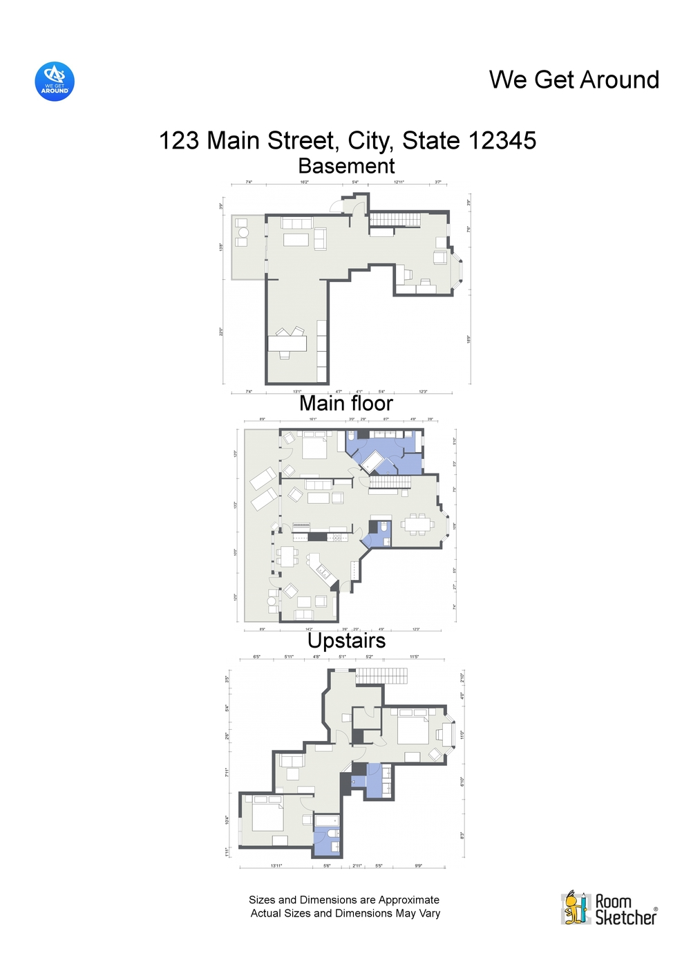 Image 5 | RoomSketcher Letterhead of 2D floor plans of all three floors combined, customized with logos and disclaimer text. Created by you, download as many different versions you like.