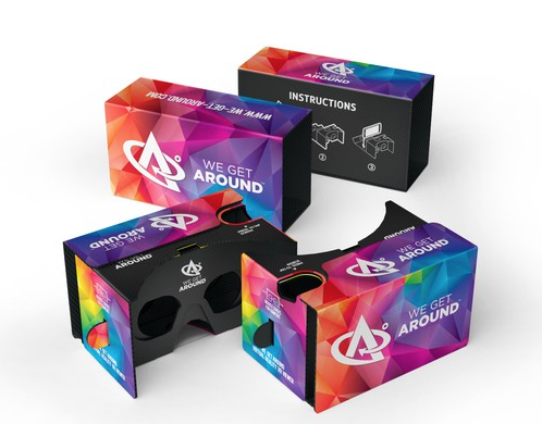 "Above: We Get Around Unofficial Cardboard VR Viewer. Use the We Get Around Art Department to create your Unofficial Cardboard artwork and Standard and Premium Members receive a free Month of Membership (please ask Dan Smigrod before placing your artwork order). Love our ""Blue"" or ""Multi-color"" design and simply want your logo and website (instead of ours) for Unofficial Cardboard?  Pay We Get Around $399 ($299 for Standard and Premium Members of the We Get Around Referral Network.)"