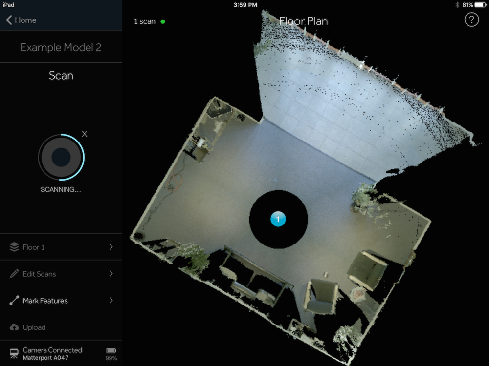 iPad Screen Grab: 1 Matterport Scan