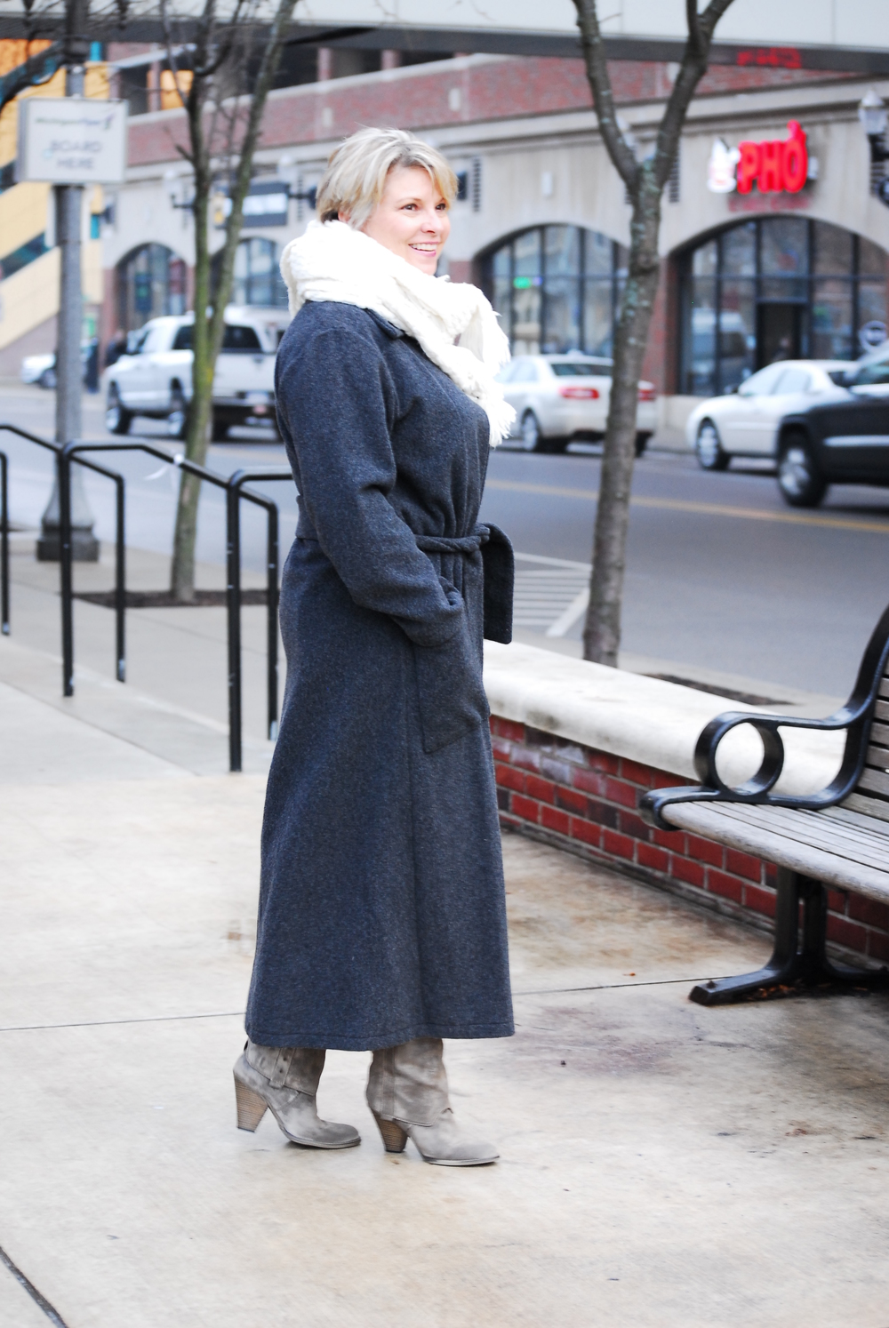 Sherry, in our Easy Coat, Maxi Length Wool/Cashmere Unlined version. Sherry's own boots and Scarf provided by Ann, our Stylist