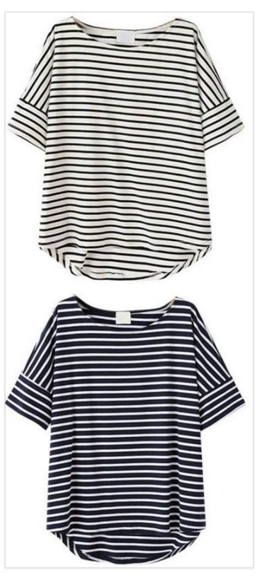 This is our tee inspiration. Key details: dropped shoulder, wide band at sleeve hem and a back shirttail hem, loose fit.