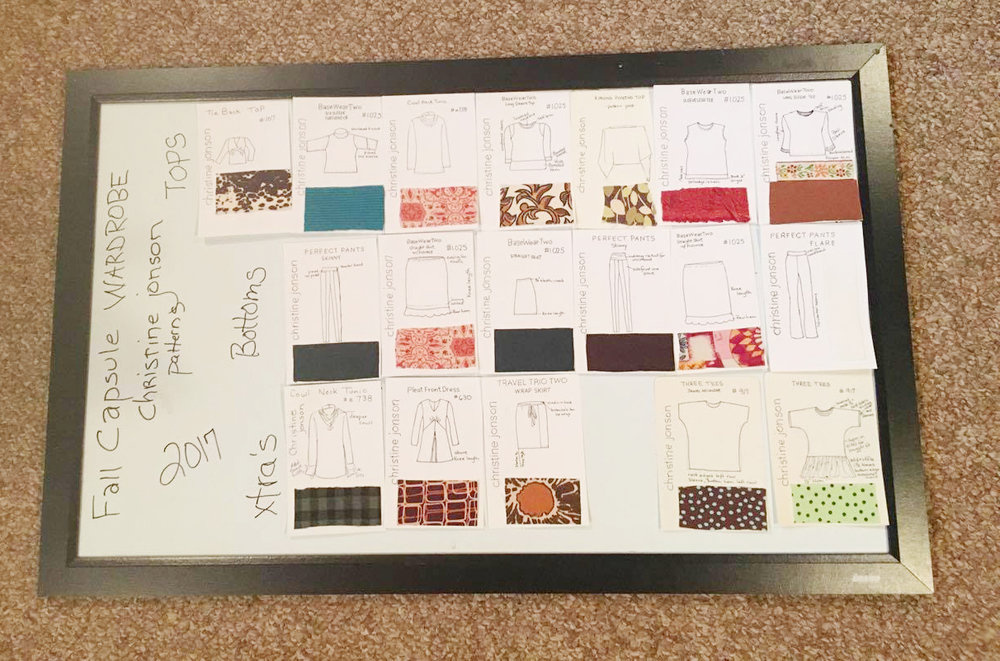 Sharon plans hers on a board with cards. Each card has a swatch, a sketch with pattern name and number. Planning in this way helps you see your wardrobe requirements (tops, bottoms, etc.) and coordinate colors before you start sewing.