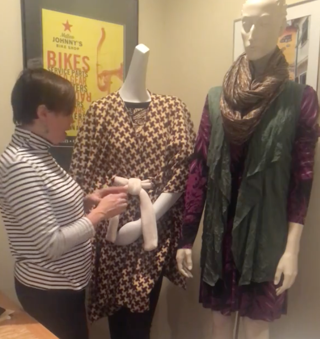 Click on the image above to see our live video on turning a ruana into a cape!