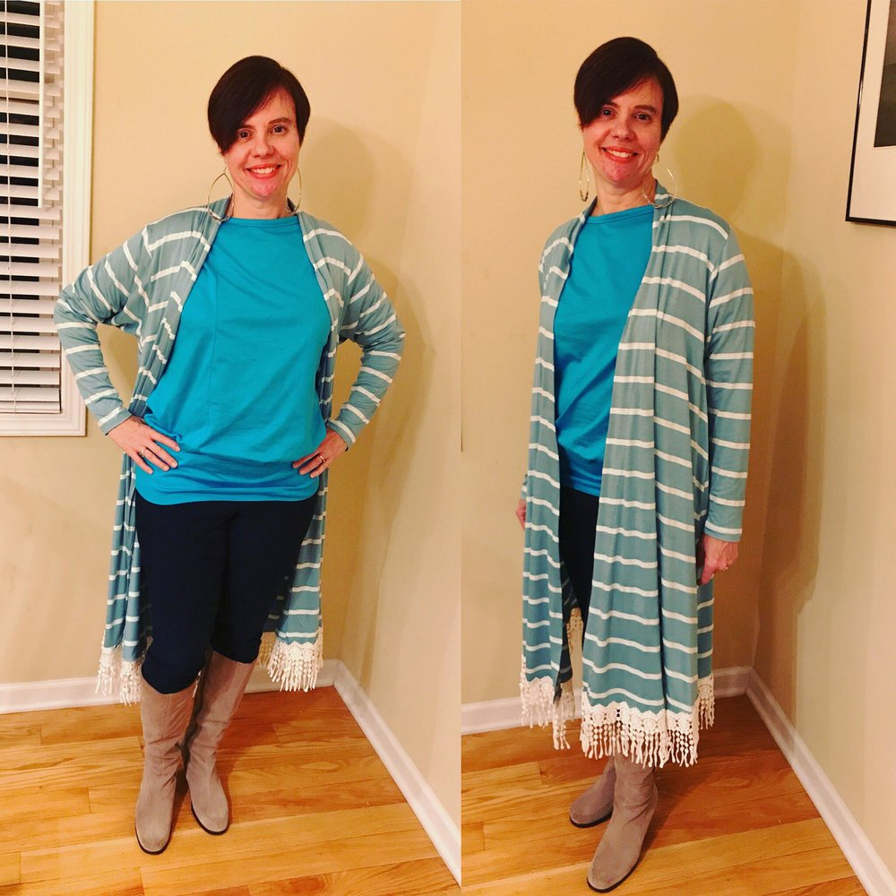 Long swing cardigan Christine Jonson Patterns