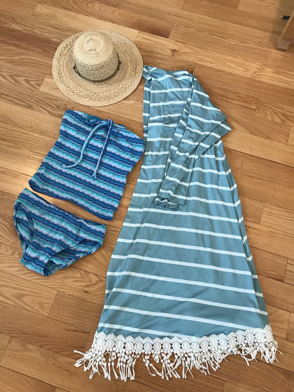 Sewing a Spring Break Capsule Wardrobe with Christine Jonson Patterns | Long swing cardigan swimwear tankini