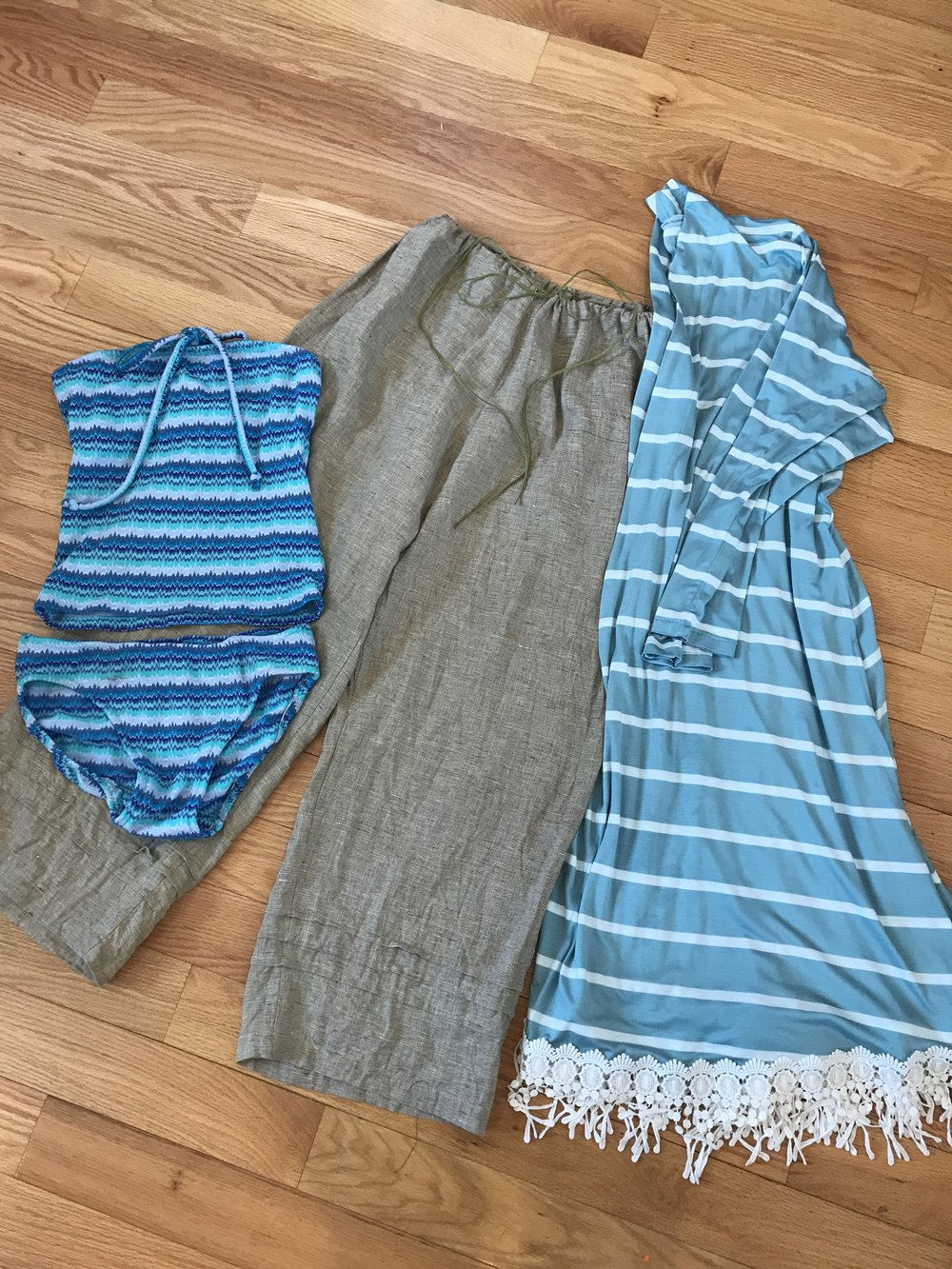 Sewing a Spring Break Capsule Wardrobe with Christine Jonson Patterns | Wide leg linen pants, tankini, long swing cardigan
