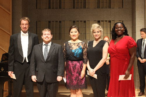 2014 Fritz and Lavinia Jensen Competition Finalists - left to right:  Yuriy Yurchuk, Casey Finnigan, Jing Zhang, Julie Davies and Taylor Johnson