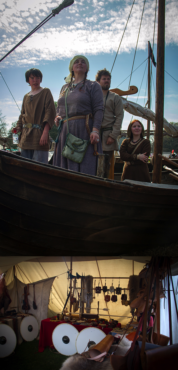 A viking family out for a spin in their long boat and a viking armoury