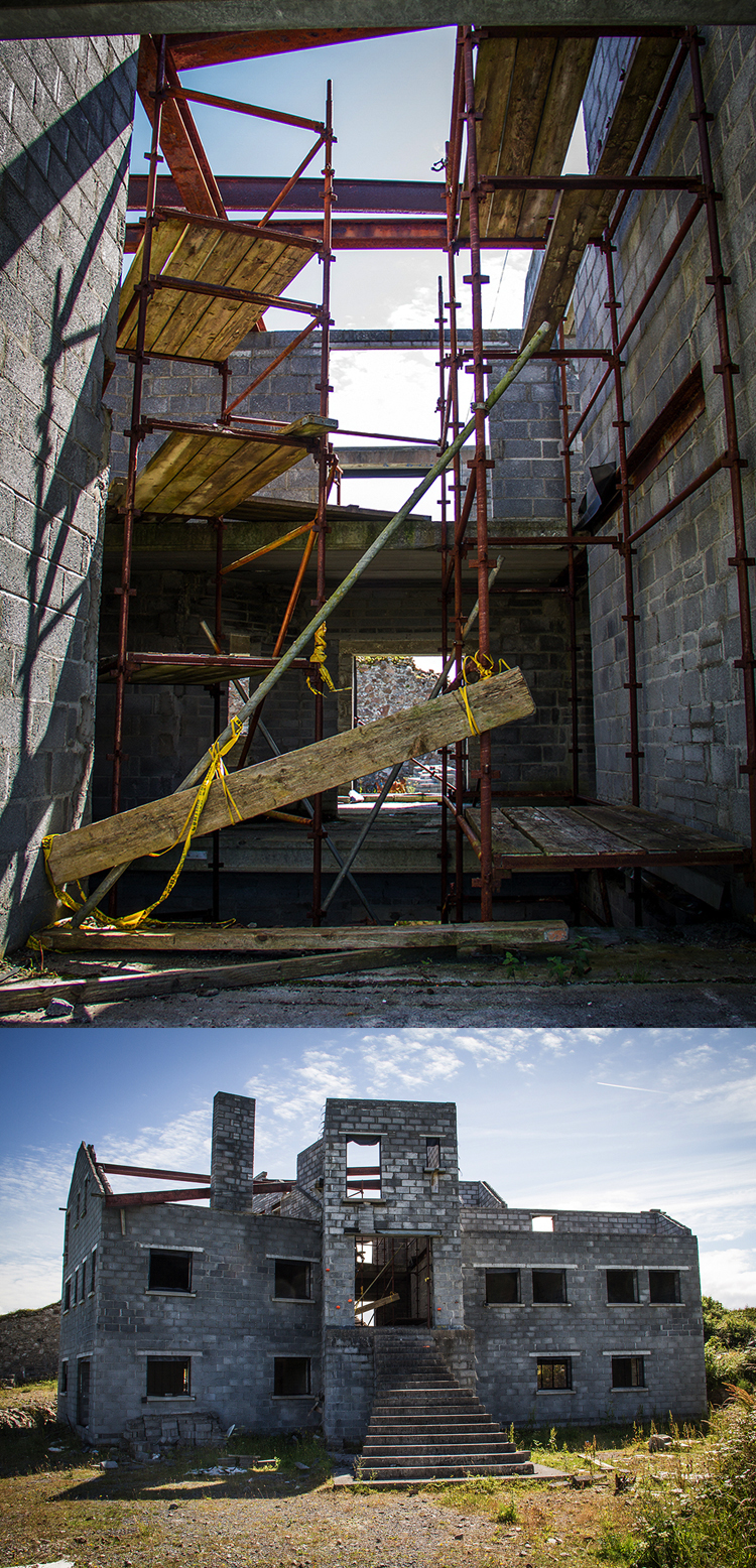 Interior and exterior of abandoned building in Connemara
