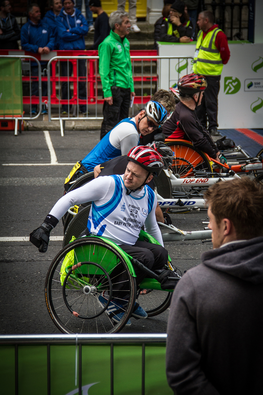 Wheelchair racers at the Dublin city marathon