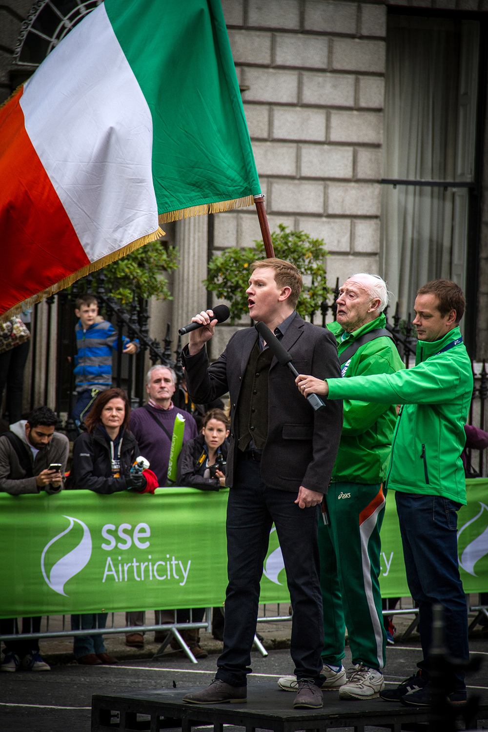 Singing the national anthem at the Dublin city marathon