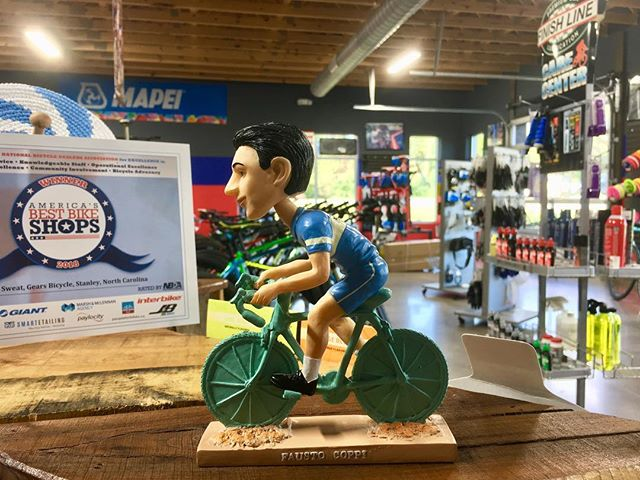"We had a great time at Interbike this past week! Fausto Coppi says ""ride a Bianchi!"" #bianchi #faustocoppi #nationalbicycledealersassociation"