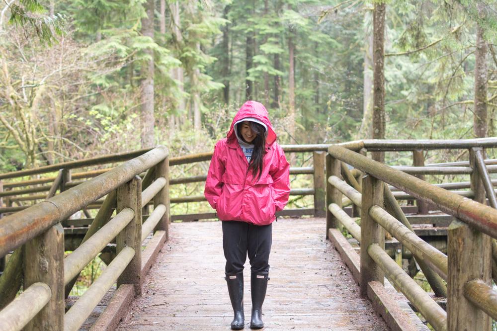 Exploring in the rain.