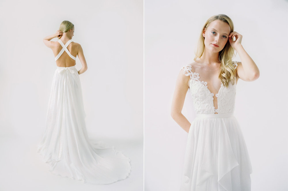 Left: Truvelle Julie Dress / Right: Truvelle Rebecca Dress / Photo: Blush Wedding Photography