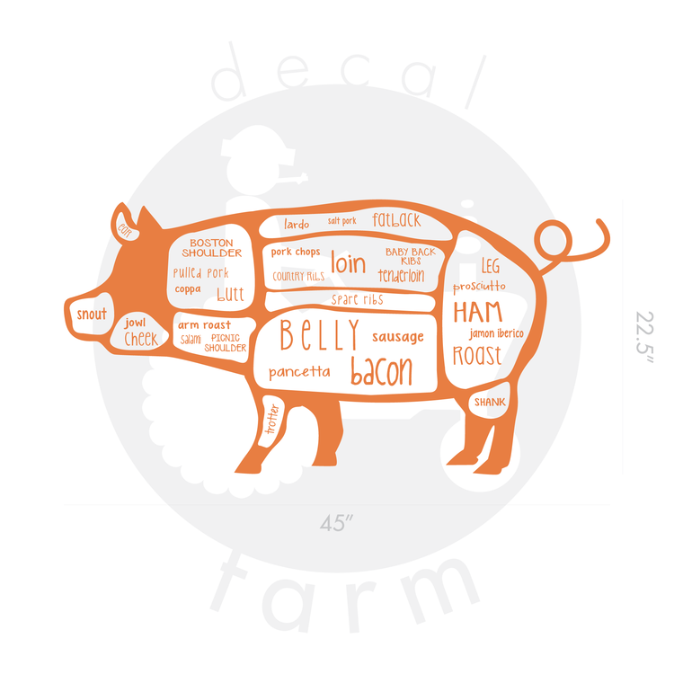 Pig Butcher Diagram Chart Decal Farm