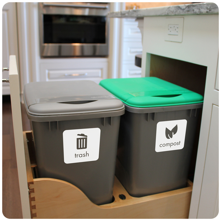 trash and compost jpg. Trash  Recycling and Compost Set  Single Color   decal farm
