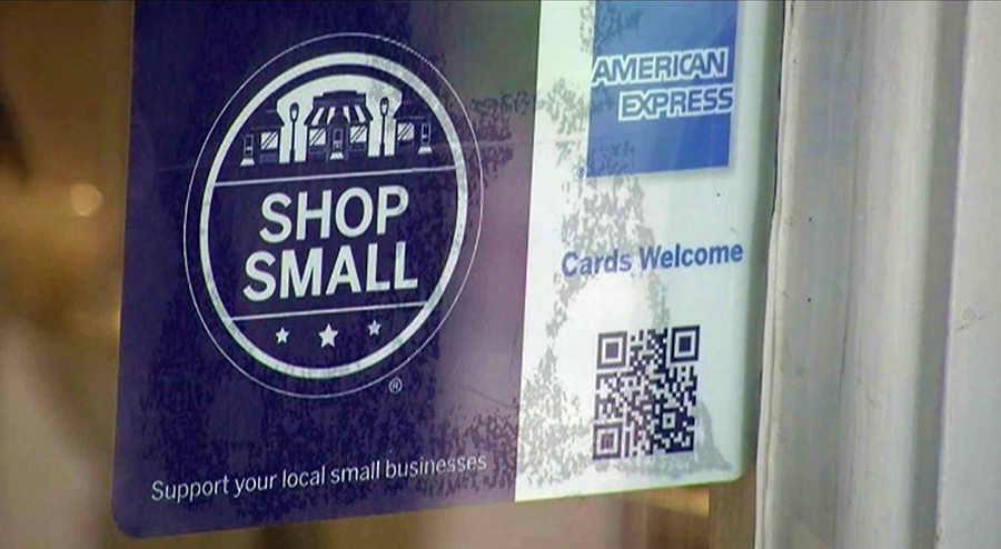 "the ""Shop Small"" badge can be seen all over America"
