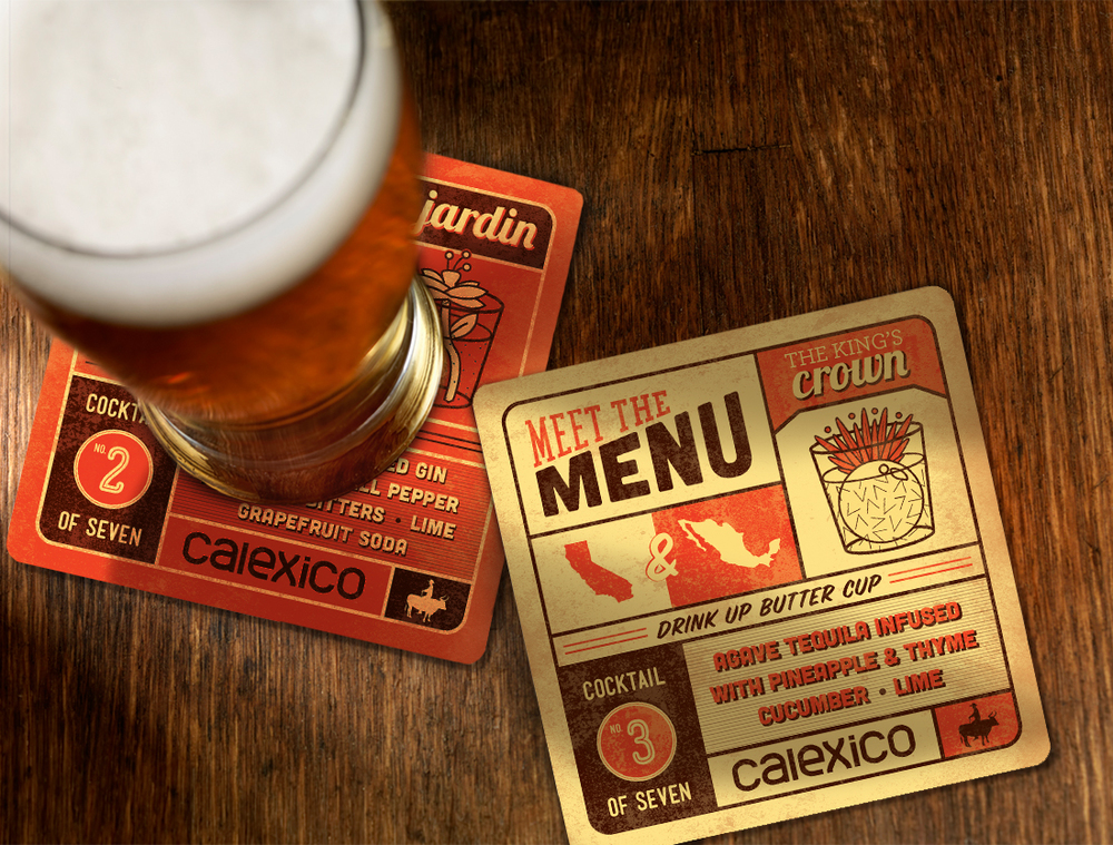 two in a series of seven coasters that introduce all of calexico's specialty drinks