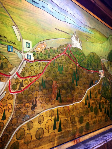 This is a map to Neuschwanstein Castle. I'd suggest you get a more up to date map that covers more ground. :;)