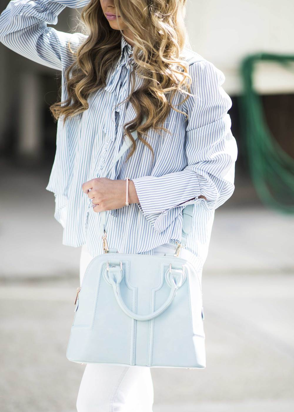 JessaKae- pastel outfit with pinstripes