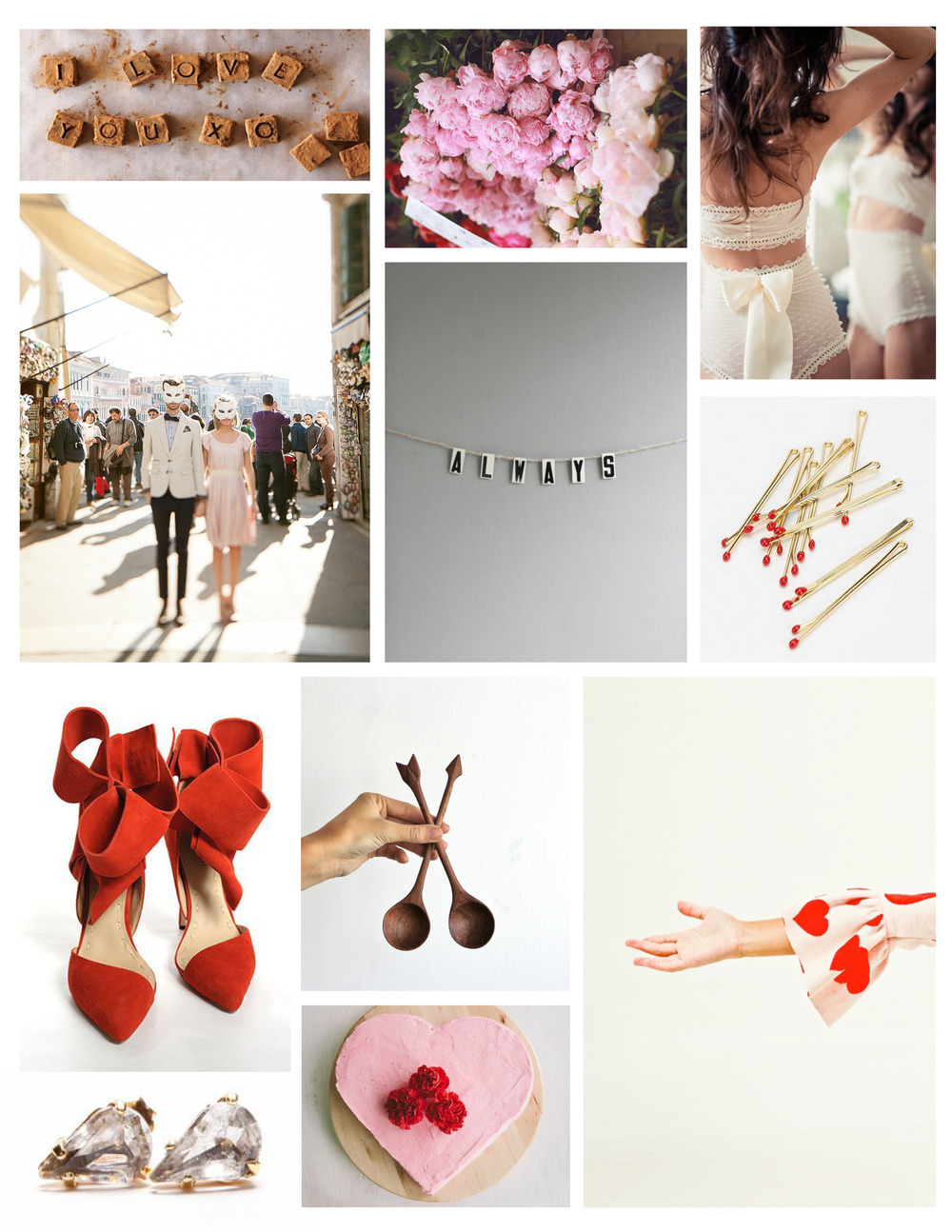 Chocolate | Flowers | Lingerie | Couple | Always Bunting | Bobby Pins | Shoes | Spoons | Sleeve | Earrings | Cake