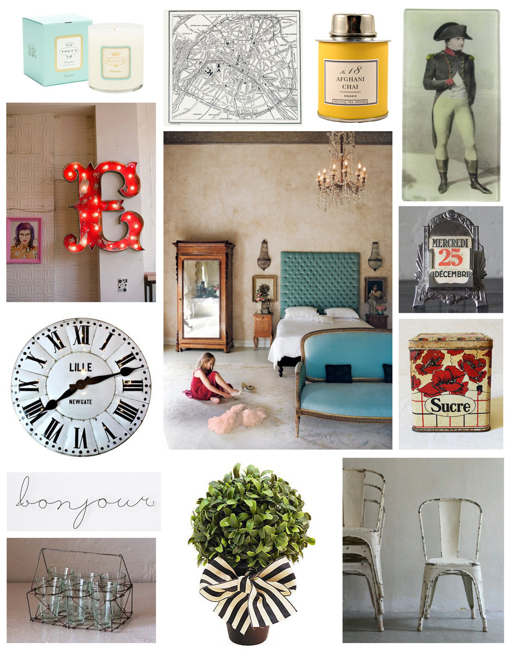 Candle  |  Map  |  Tea  |  Platter  |  Letter  |  Room  |  Date  |  Tin  |  Clock  |  Bonjour  |  Glasses  |  Plant  |  Chairs