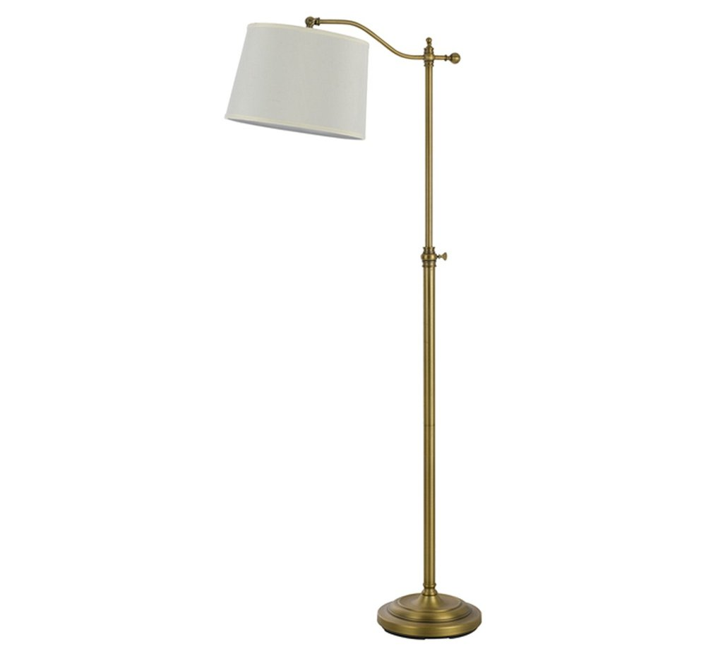 Cal Lighting Wilmington Antique Brass finish Metal Floor Lamp with Adjustable Height