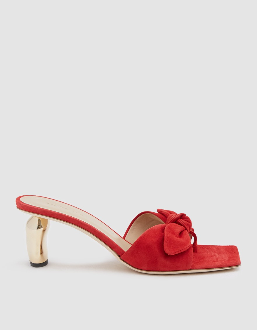 Rejina Pyo Lottie Ribbon Heel in Red/Gold ($278)