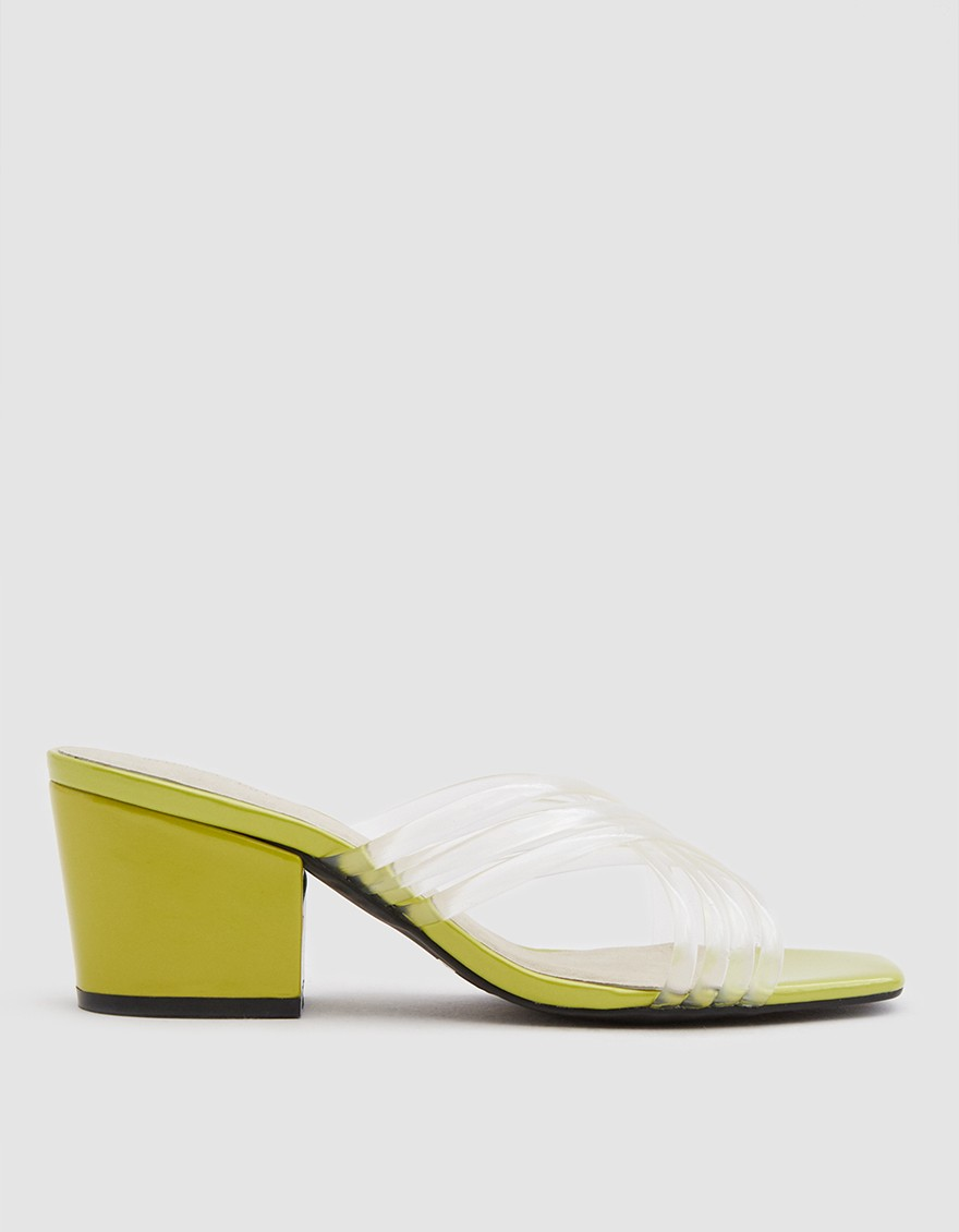 Intentionally Blank Hunter New Heel in Clear/Lime ($93)
