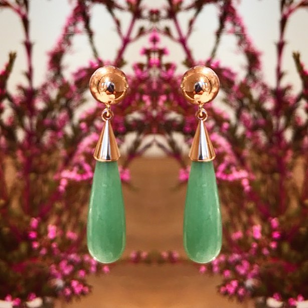 Tassel Me Free earrings - Australian Chrysoprase set in 9ct rose gold. These earrings were part of my PEACOCK series where you can mix and match every component. From rose gold tassels to various gemstones these earrings are vey versatile.EXCLUSIVE to Courtesy of the Artist