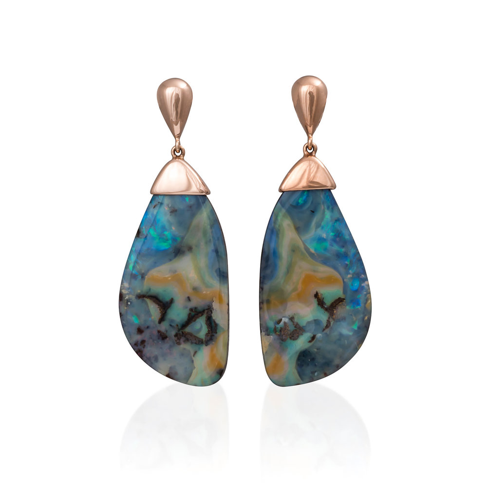 'Chrysalis' Opal Earrings - These stunning opals (47.65cts) are from Bulgroo, Queensland set in beautiful 9K rose gold.The metamorphosis of life is continuous as we develop and grow throughout the years, so I decided to create these magical 'Chrysalis' earrings to celebrate change... which is absolute!EXCLUSIVE to Courtesy of the ArtistSOLD - No longer available
