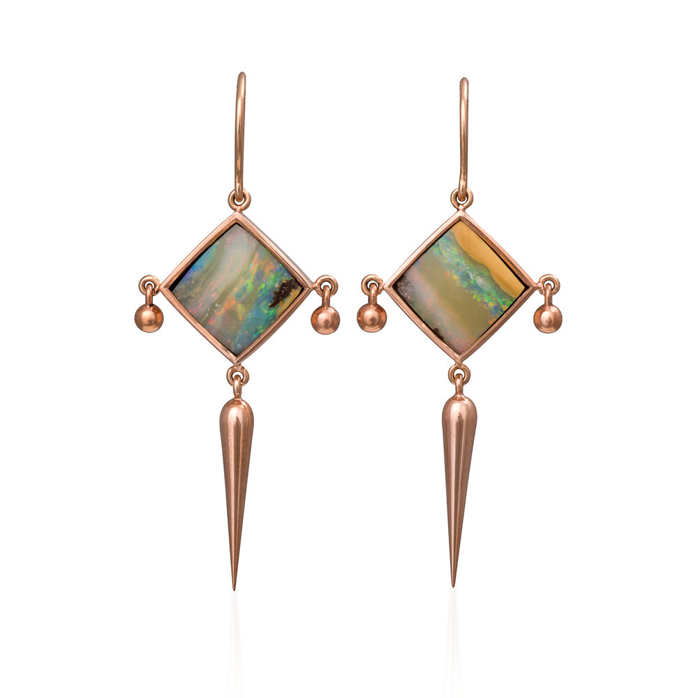 Temple of Artemisearrings - These gorgeous square opals (7.55cts) from Bulgroo, Queensland took my breath away when I first saw them!I decided to set them on an angle and hang magical tassels off of them so as to create a soft and feminine feel to them.Absolutely STUNNING!*SOLD. No longer available.