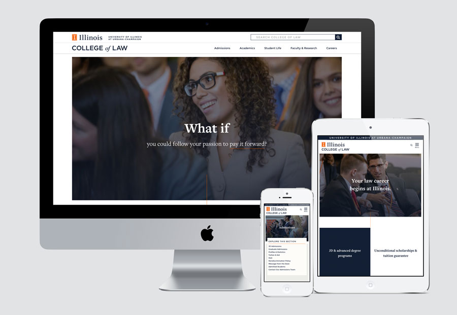 Law website on desktop, phone, tablet