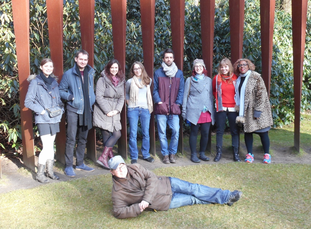 Sculpture Garden at Kröller-Müller Museum: L-R, Molly Joyce, Rob Jones, Finola Merivale, Natalie Dietterich, Jonathan Brigg, Soul Zisso, Me, Errollyn Wallen, and Martijn Padding in the front.