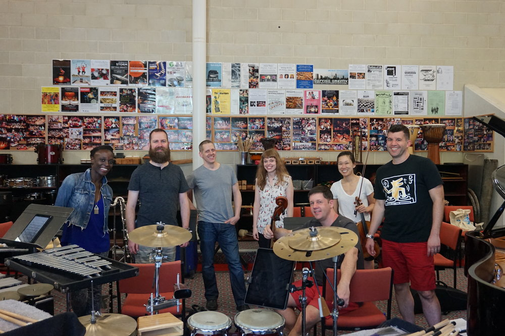 Eighth Blackbird and I after out first rehearsal. Check out that trashy cymbal stack in the foreground!